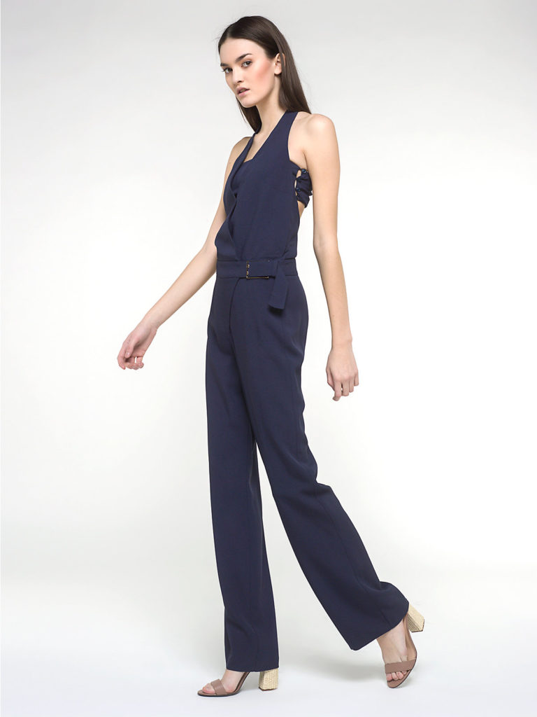 Blue Jumpsuit Fashion Dress Made in Italy